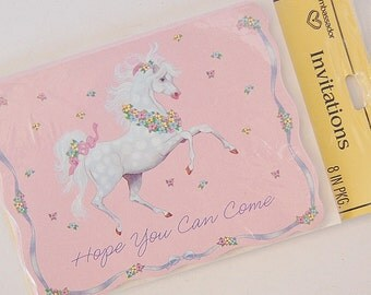 Horse Party Invitations, Fairy Kei Invites, Set of 8 Cards and Envelopes, American Greetings
