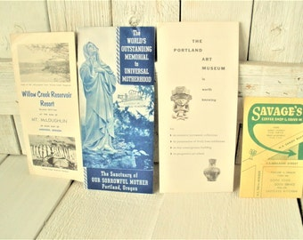 Four vintage Oregon tourist brochures menu souvenirs retro design Welcome Wagon 1950s