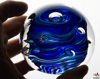 One Of A Kind Glass Paperweight - Blue Stripes with Large Bubbles