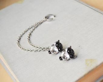 Silver Crystal Owl Double Chain Ear Cuff Earrings (Pair)