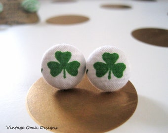 St. Patrick's Day Earrings, Button Eearrings, Button Studs, Four-Leaf Clover Earrings, Shamrock Earrings, Green & Pink Button Earrings