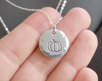 Small Pumpkin Charm Necklace - Illinois Necklace - Location Necklace - Morton Illinois Pumpkin Capital of the World - Sterling Silver Chain