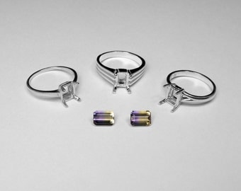 Ametrine Ring Choice in Silver, 7 x 5 mm