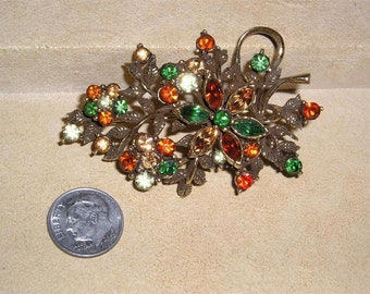 Vintage Coro Multicolored Rhinestone Brooch Early 1950's Signed Jewelry 2326