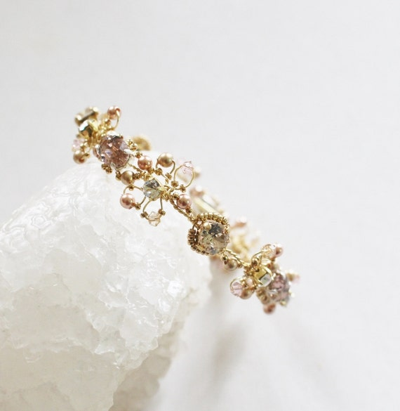 Bracelet Mariage en Cristal Silk et Blush - Bracelet Boho Chic et  Vintage Or - Accessoire Bijou Mariage et Fêtes.
