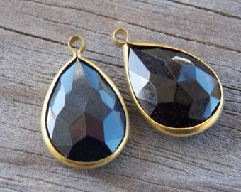 6 Black Crystal Teardrop Charms 22mm Acrylic Crystal in Antiqued Brass Bezel