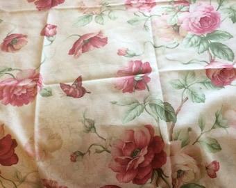 A set of JC Penny curtains burgundy poppy panels