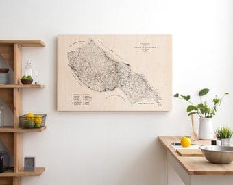Santa Cruz Wood Map, Surfing Location Map, Maple Wood Sign, Wood Wall Art, 16x20, 20x24, 20x30""