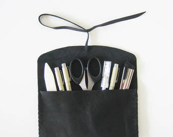 Le Montréalais (The Montrealer) - Urban Chic Black Leather Pencil Pouch, pen case, wraparound wallet, hand stitched, upcycled, sturdy, 4x7