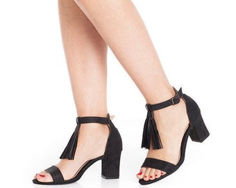 Black mid heel pumps / women shoes / vegan sandals / high heel peep toe shoe / non leather sandal / vegan leather / Evening sandals