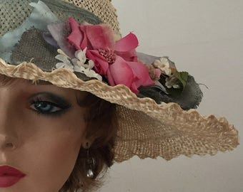 Summer straw hat for shaped by hand for Kentucky Derby or Downton Abbey party
