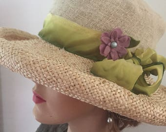 Dress up or down in this rolled brim handmade straw hat for Kentucky Derby, golfing or Downton Abbey party