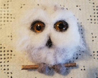 Snowy Owl Pin- Needle Felted