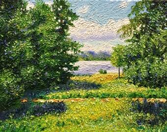 Original Oil Impasto Impressionist Michigan Landscape 11x14 Painting.   'Path Along the Lake'