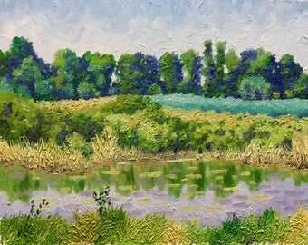 "Original Impressionist Oil Landscape Painting ""The Big Puddle"" 11x14"