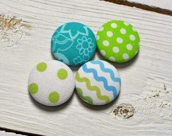 Fabric covered button magnets (4) –  Cotton Dreamland Mix pattern - Strong magnets