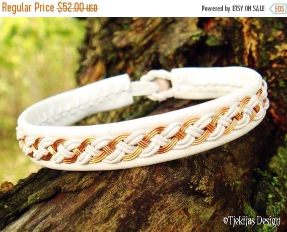 Nordic Viking Bracelet DRAUPNIR White Sami Lapland Reindeer Bracelet with Copper wire Braid and Antler button - Handcrafted Tribal Elegance
