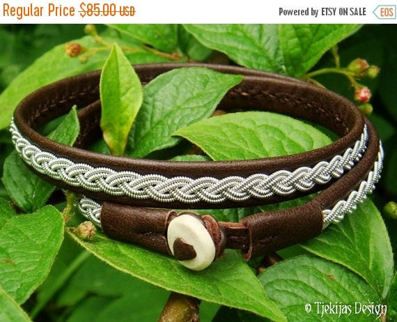 Antique Brown Sami Reindeer Leather Pagan Viking Double Wrap Bracelet LIDSKJALV decorated with spun Tin Thread Braid and Antler Button