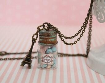 Candy Jar Necklace-Bottle Necklace-Kawaii Necklace- Candy Jar Pendant-Food Necklace-Miniature Food jewelry-Berlingot candy Necklace