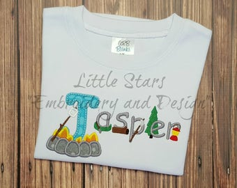 Camping Shirt with Camp Letters - Colored Shirts are Extra - Appliqued and Personalized