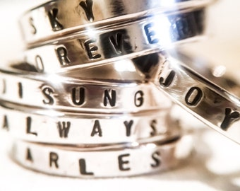 Design Your Own:  Personalized Sterling Silver Ring //  Wide with Horizontal Stamping