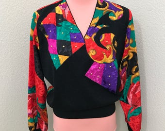 Hot pink purple pattern jester 80s blouse size S/M