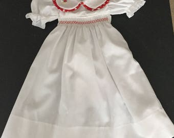White with Red Spot Trim Smocked Dress