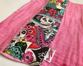 Dia De Los Muertos, Pink, Burp Cloth