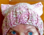 Wool Handknit Hat/Cap, Pink/White/Grey with Kitty/Pussycat Ears. OOAK, Grear Chemo Cap