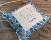 Blue tile  modern tooth fairy pillow , ready to ship , toddler room decor , hanging pillow with pocket for boys room , tooth fairy.