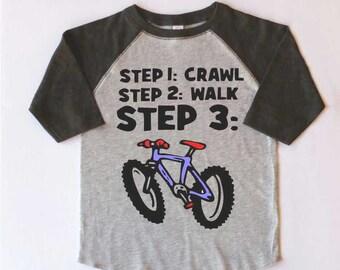 Toddler Bicycle T-shirt-CRAWL,WALK,BIKE-Toddler Baseball tee-3 colors-bicycle t-shirt,children's bike tee,kids Mountain Bike Tshirt