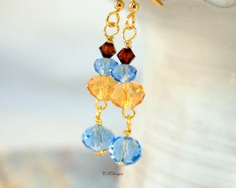 Swarovski Crystals Beaded Earrings Crystal Dangling Beaded Pierced Or Clip-on Earrings Wire Wrap Earrings Shades of Gold and Blue Earrings.