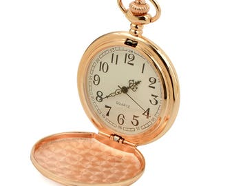 Personalized Pocket Watch Custom Engraved Rose Gold Color Quartz Pocket Watch with White Dial - Hand Engraved
