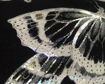 Black White Butterfly Leggings , one of a kind leggings, art leggings, limited edition print, carousel ink, butterflies, iridescent