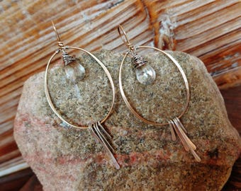Touche. Hammered Artisan Boho Gold Brass and Sterling Chandelier Drop Earrings with Wire Wrapped Clear Crystal Quartz Gemstones-Boho Minimal