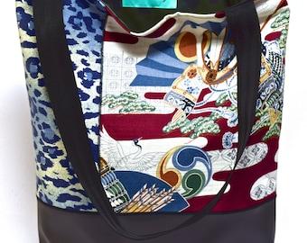 Large Tote Bag - Hawaiian Bark Cloth, Blue Leopard Print, Vegan Leather