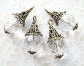 RESERVED 4 Pc. Crystal Clear Vintage Glass Bead Charms - Antiqued Brass