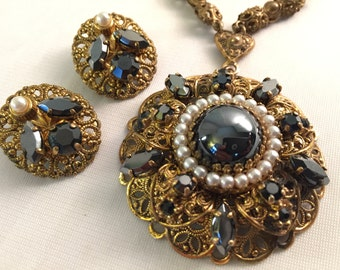 Vintage W. Germany Filigree Large Pendant Necklace Matching Clip Earring Set. Faux Hematite and Pearl Inset on Antique Brass  Chain. Signed