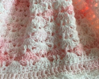 Soft and Cozy Baby Afghan in Pink and White, Pink Crochet Baby Afghan, Crochet Baby Blanket, Baby Shower Gift, Pastel Pink Blanket, Afghan