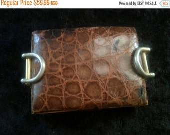 Now On Sale 1940's 1950's Vanity Compact Distressed  Leather Alligator Mid Century Home Decor Mad Men Mod Hollywood Regency Rockabilly Acces