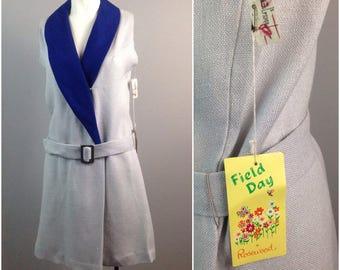 Vintage NOS 1960s Blue & Gray Color Block Mod Mini Sleeveless Dress / Women's Medium / 60s Rayon Scooter Belted Dress