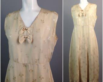 Vintage 1930s Muted Gold Floral Brocade Sleeveless Dress / Women's Medium / 30s Art Deco Tea Length Dress