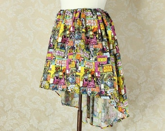 "HALF OFF SALE Star Wars High Low Mini Cecilia Skirt, No Ruffle -- Comic Book Print -- Ready to Ship -- Fits Up To 54"" Waist"