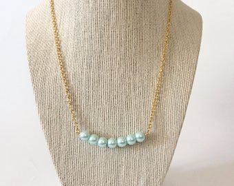 Mint Green Pearl Bar Necklace