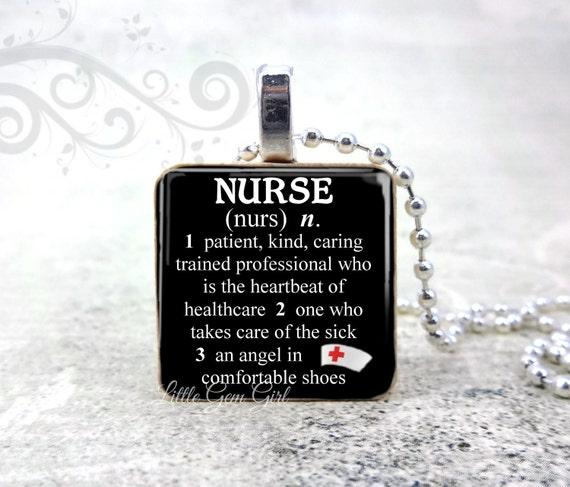 Nurse Necklace Dictionary Definition Pendant - Medical RN Nurse Quote 1 inch Wood Tile - Graduation Gift Nurse Keychain Charm
