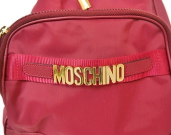 Vintage Moschino monogram  backpack/carry on rucksack with gold hardware letters and handle 1989 15 % discount w code