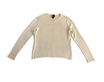 Vintage 90s Knit Silk Long Sleeve Cream Sweater