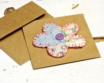 Patchwork Flower Note Card w/ Floral Brooch, Embellishment or Ornament, Original Prim Quilted Embroidered Greeting Card Gift itsyourcountry