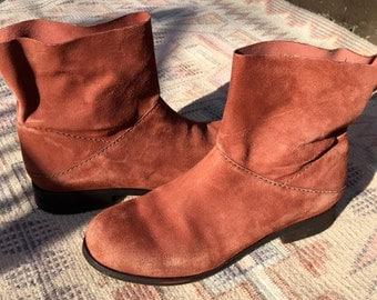 brick red suede EILEEN FISHER ankle boots - sz 6 / 37
