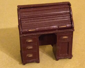 Dollhouse Desk Cast Metal Roll Top Desk 1970's